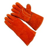 Welding Leather Hand Glove. Red Color
